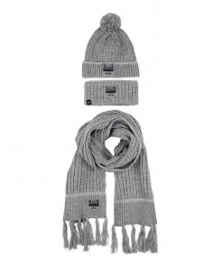 HV-Polo-Set-Mütze-Schal-Stirnband grau